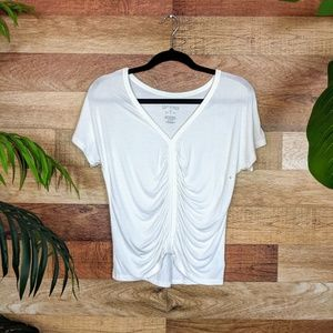 American Eagle Soft & Sexy White Ruched Front Top